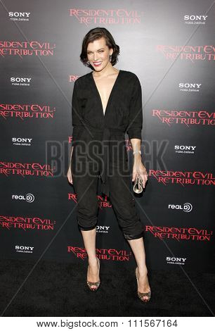 LOS ANGELES, CA - SEPTEMBER 12, 2012: Milla Jovovich at the Los Angeles premiere of 'Resident Evil: Retribution' held at the Regal Cinemas L.A. Live in Los Angeles, USA on September 12, 2012.