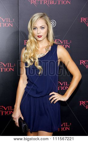 LOS ANGELES, CA - SEPTEMBER 12, 2012: Laura Vandervoort at the Los Angeles premiere of 'Resident Evil: Retribution' held at the Regal Cinemas L.A. Live in Los Angeles, USA on September 12, 2012.