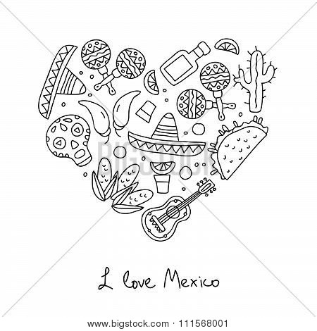 Mexico icons in the shape of heart