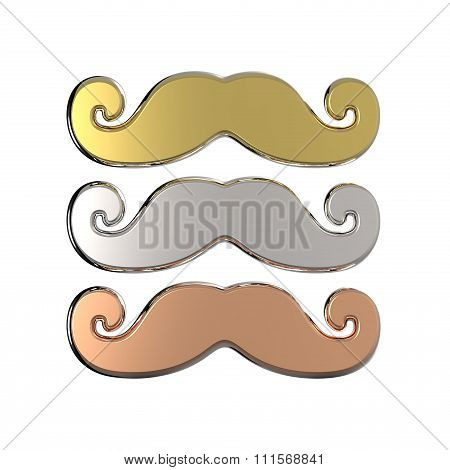 Gold silver and bronze mustache. 3D