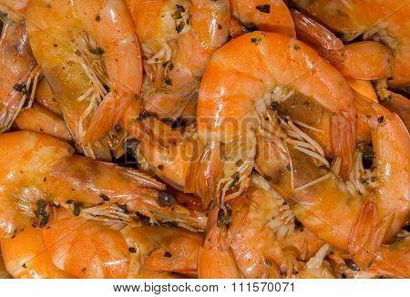 Cooked Fine Fresh Shrimps With Herbs, Spices And Salt