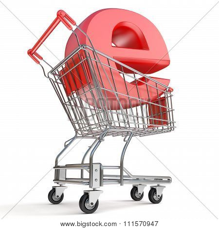Shopping cart and E symbol. E-shop concept. 3D