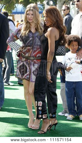 WESTWOOD, CA - OCTOBER 26, 2008: Fergie and Toni Braxton at the Los Angeles premiere of 'Madagascar: Escape 2 Africa' held at the Mann Village Theater in Westwood, USA on October 26, 2008.