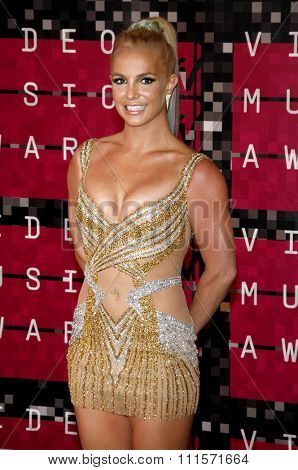 LOS ANGELES, CA - AUGUST 30, 2015: Britney Spears at the 2015 MTV Video Music Awards held at the Microsoft Theater in Los Angeles, USA on August 30, 2015.
