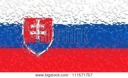 Flag of Slovakia, slovak flag with water drops