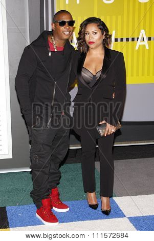 LOS ANGELES, CA - AUGUST 30, 2015: Ja Rule and Aisha Atkins at the 2015 MTV Video Music Awards held at the Microsoft Theater in Los Angeles, USA on August 30, 2015.