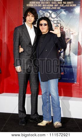 HOLLYWOOD, CA - JUNE 08, 2012: Gene Simmons and Nick Simmons at the Los Angeles premiere of 'Rock of Ages' held at the Grauman's Chinese Theatre in Hollywood, USA on June 8, 2012.