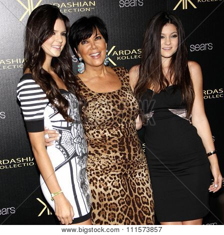 HOLLYWOOD, CA - AUGUST 17, 2011: Kylie Jenner, Kris Jenner and Kendall Jenner at the Kardashian Kollection Launch Party held at the Colony in Hollywood, USA on August 17, 2011.