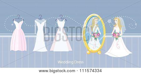Wedding dress design flat style