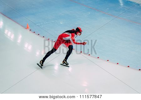 General plan young athlete skater during race sprint distance