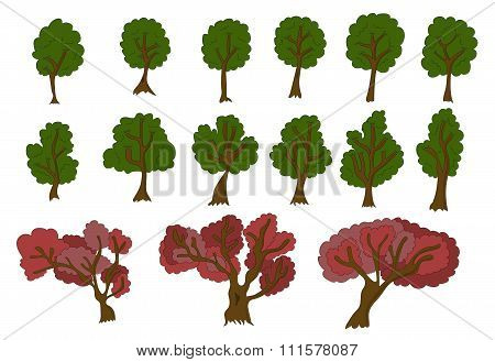 Vecor set of 2d trees for game design.