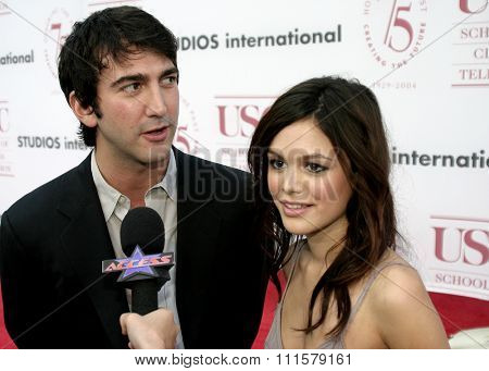 Rachel Bilson and Josh Schwartz at the 75th Diamond Jubilee Celebration for the USC School of Cinema-Television held at the USC's Bovard Auditorium in Los Angeles, USA on September 26, 2004.
