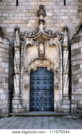 Doorway of Guarda gothic cathedral