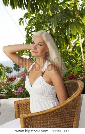 Beautiful woman relaxing outdoors