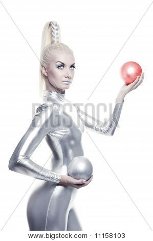 Beautiful cyber woman with balls