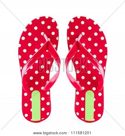 Summer Fashion Red Flip Flop Sandals Isolated On White Background