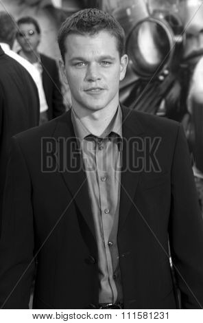 HOLLYWOOD, CA - JULY 15, 2004: Matt Damon at the World premiere of 'The Bourne Supremacy' held at the ArcLight Cinema in Hollywood, USA on July 15, 2004.
