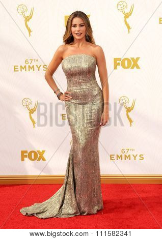 LOS ANGELES, CA - SEPTEMBER 20, 2015: Sofia Vergara at the 67th Annual Primetime Emmy Awards held at the Microsoft Theater in Los Angeles, USA on September 20, 2015.