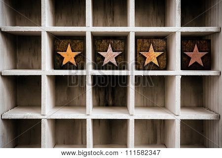 4 Stars Concept Wooden Letterpress Type In Drawer
