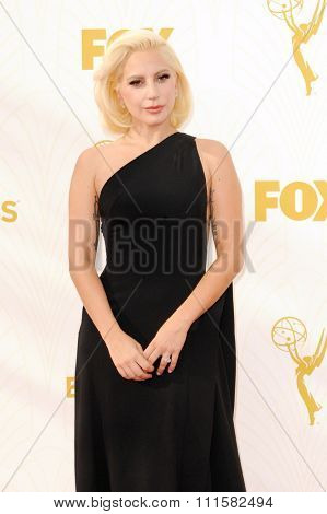 LOS ANGELES, CA - SEPTEMBER 20, 2015: Lady Gaga at the 67th Annual Primetime Emmy Awards held at the Microsoft Theater in Los Angeles, USA on September 20, 2015.