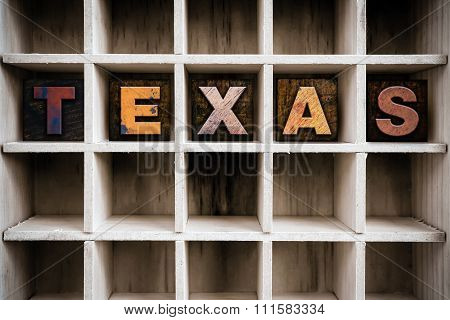 Texas Concept Wooden Letterpress Type In Drawer
