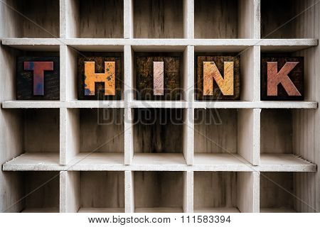 Think Concept Wooden Letterpress Type In Drawer