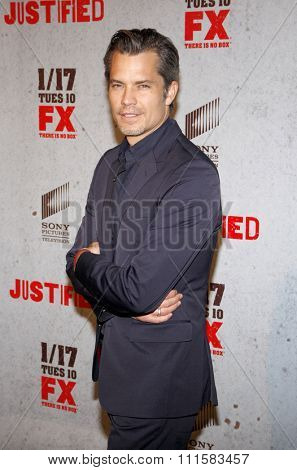 HOLLYWOOD, CA - JANUARY 10, 2012: Timothy Olyphant at the season 2 premiere of FX;s 'Justified' held at the DGA Theater in Hollywood, USA on January 10, 2012.