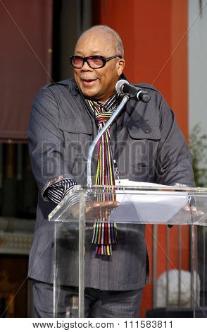 HOLLYWOOD, USA - JANUARY 26, 2012: Quincy Jones at the Michael Jackson Immortalized held at the Grauman's Chinese Theatre in Los Angeles, USA on January 26, 2012.