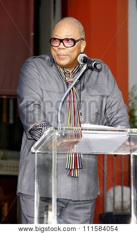 HOLLYWOOD, CA - JANUARY 26, 2012: Quincy Jones at the Michael Jackson Immortalized held at the Grauman's Chinese Theatre in Los Angeles, USA on January 26, 2012.