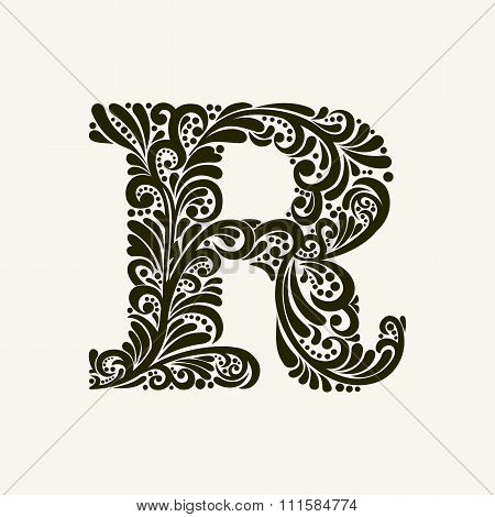 Elegant capital letter R in the style of the Baroque. To use monograms, logos, emblems and initials.