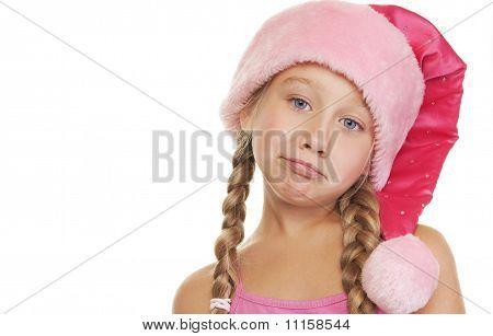 Portrait of a sad little christmas girl