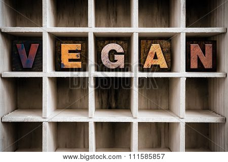 Vegan Concept Wooden Letterpress Type In Drawer