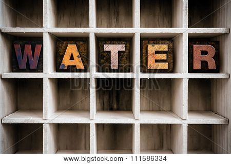 Water Concept Wooden Letterpress Type In Drawer