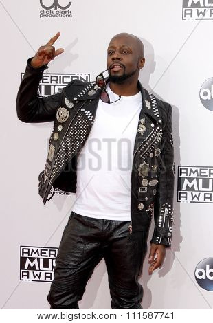 LOS ANGELES, CA - NOVEMBER 23, 2014: Wyclef Jean at the 2014 American Music Awards held at the Nokia Theatre L.A. Live in Los Angeles on November 23, 2014.