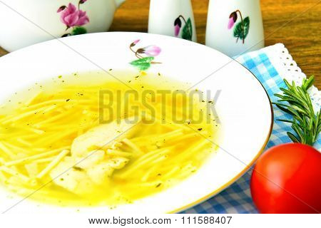 Dietary Chicken Broth Soup with Parsley.