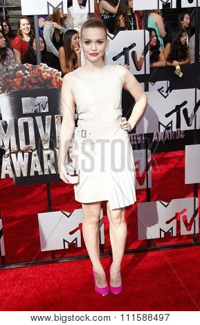 LOS ANGELES, CA - APRIL 13, 2014: Holland Roden at the 2014 MTV Movie Awards held at the Nokia Theatre L.A. Live in Los Angeles, USA on April 13, 2014.