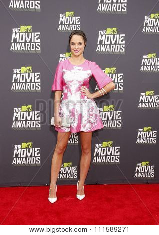 CULVER CITY, CA - APRIL 14, 2013: Alexis Knapp at the 2013 MTV Movie Awards held at the Sony Pictures Studios in Culver City, CA on April 14, 2013.