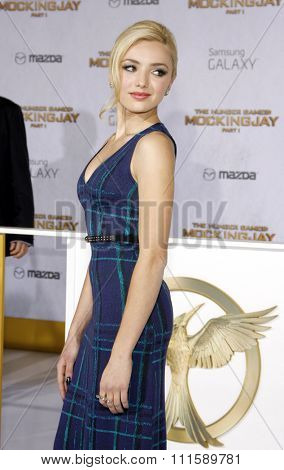 LOS ANGELES, CA - NOVEMBER 17, 2014: Peyton List at the Los Angeles premiere of 'The Hunger Games: Mockingjay - Part 1' held at the Nokia Theatre L.A. Live in Los Angeles, USA.