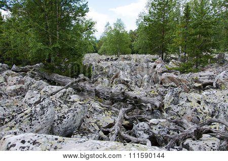 Big stone river. Taganay. Southern Urals
