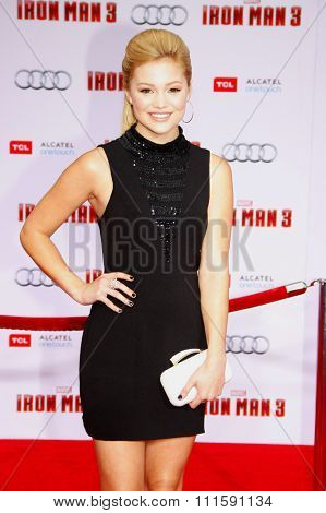HOLLYWOOD, CA - APRIL 20, 2013: Olivia Holt at the Los Angeles premiere of