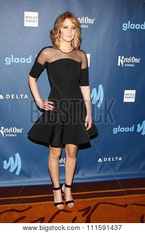 Jennifer Lawrence at the 24th Annual GLAAD Media Awards held at the JW Marriott Los Angeles at L.A. LIVE in Los Angeles, USA on April 20, 2013.