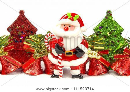 Chirstmas Tree, Bell, Santa Claus On White Background