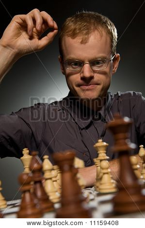 Chess master making smart move