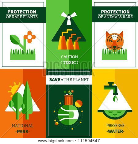 Six Flat Ecology Posters Set