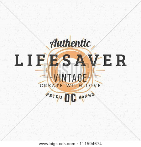 Lifebuoy. Vintage Retro Design Elements For Logotype, Insignia, Badge, Label. Business Sign Template