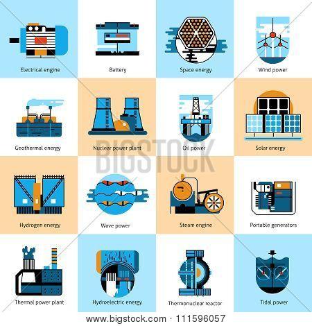 Energy production flat line icons set