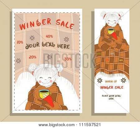 Winter sale banner with cute girl