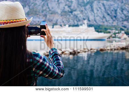 Girl Taking Photo Of Cruise Liner Yacht