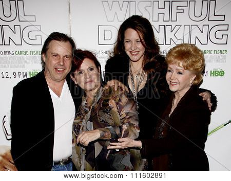 Carrie Fisher, Debbie Reynolds and Joely Fisher at the Los Angeles Premiere of
