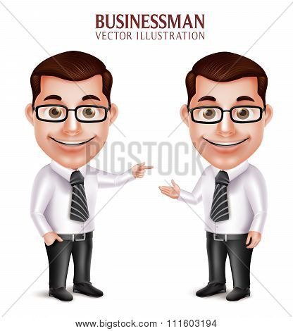 Professional Business Man Character Pointing and Presenting